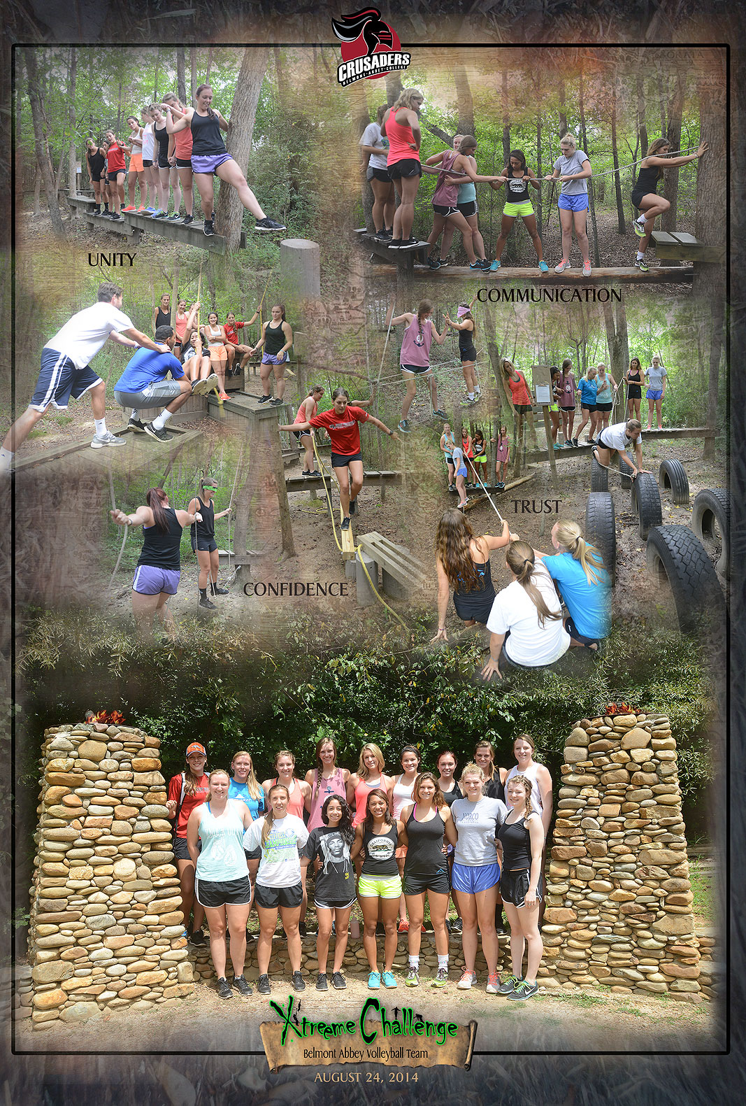 Belmont Abbey College Valleyball Team at Xtreeme Challenge Team Building Center in Charlotte North Carolina