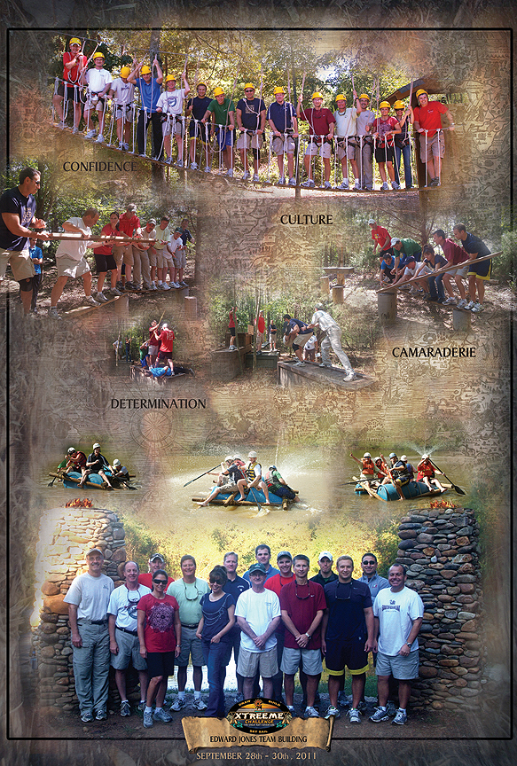 Edward Jones Team Building Event Poster at Xtreeme Challenge in Charlotte North Carolina