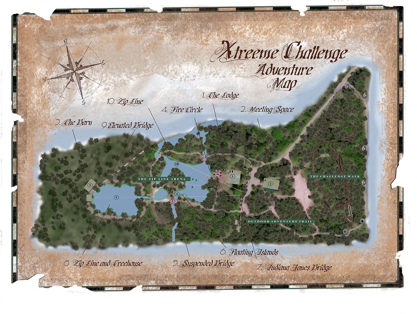 Xtreeme Challenge 17 Acre Adventure Map in Charlotte North Carolina