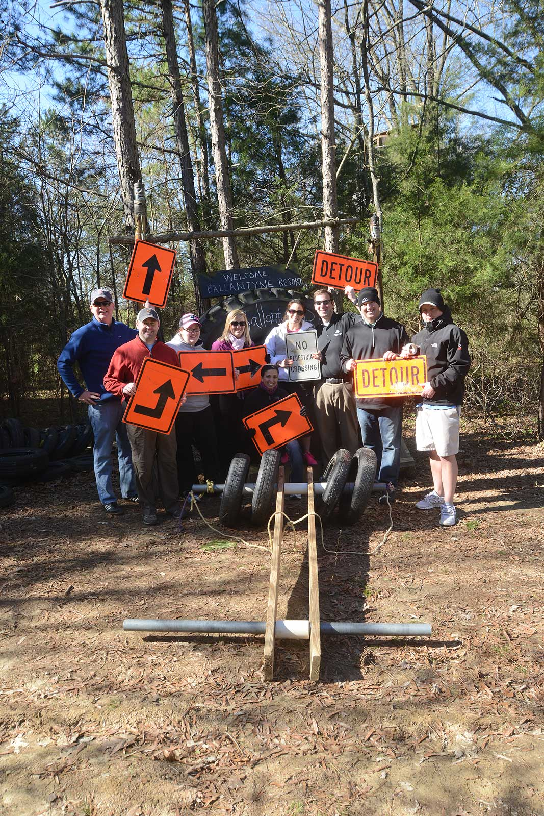 Ballantyne Resort team building at Xtreeme Challenge 17 acre outdoor adventure center