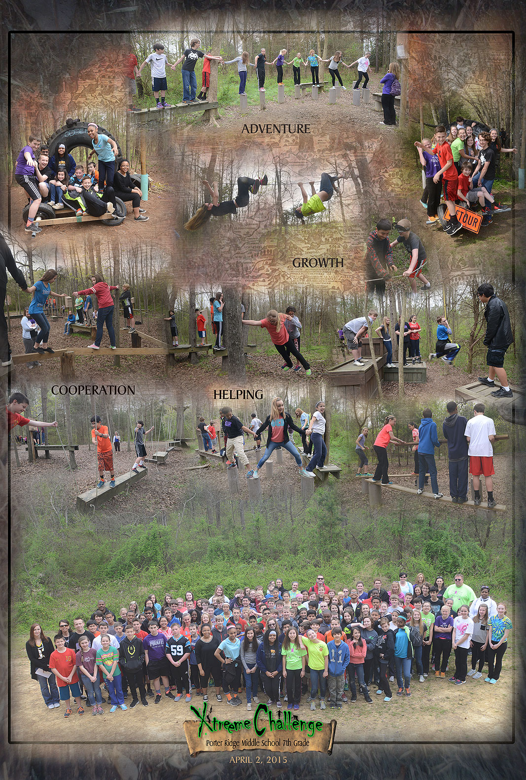Porter Ridge Middle School April 2015 Experiential Learning at Xtreeme Challenge in Monroe North Carolina