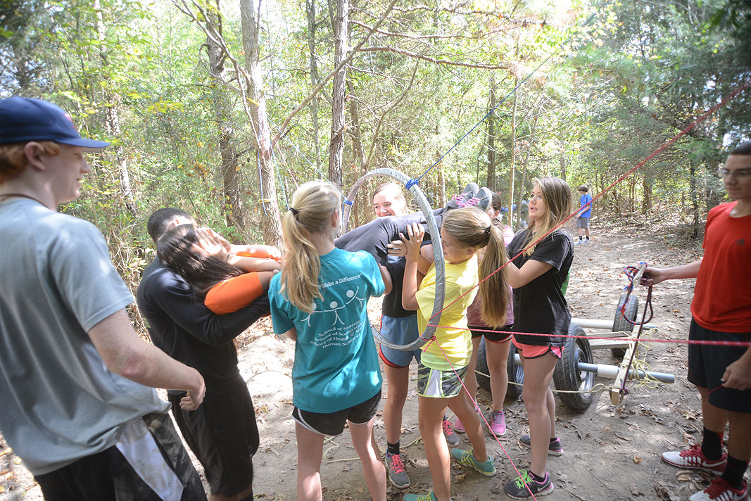 Rocky Mount Academy 9th grade class at Xtreeme Challenge Outdoor Adventure Team Building Center in Monroe North Carolina