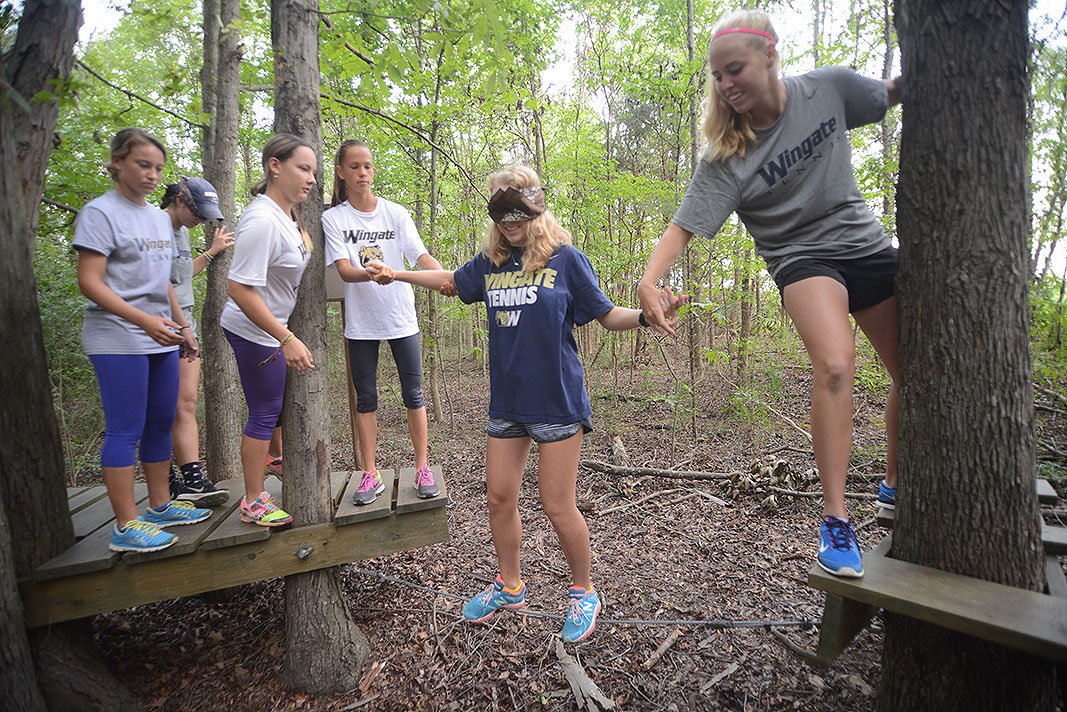 Wingate University Yennis Team at Xtreeme Challenge Team Building Center in Charlotte North Carolina