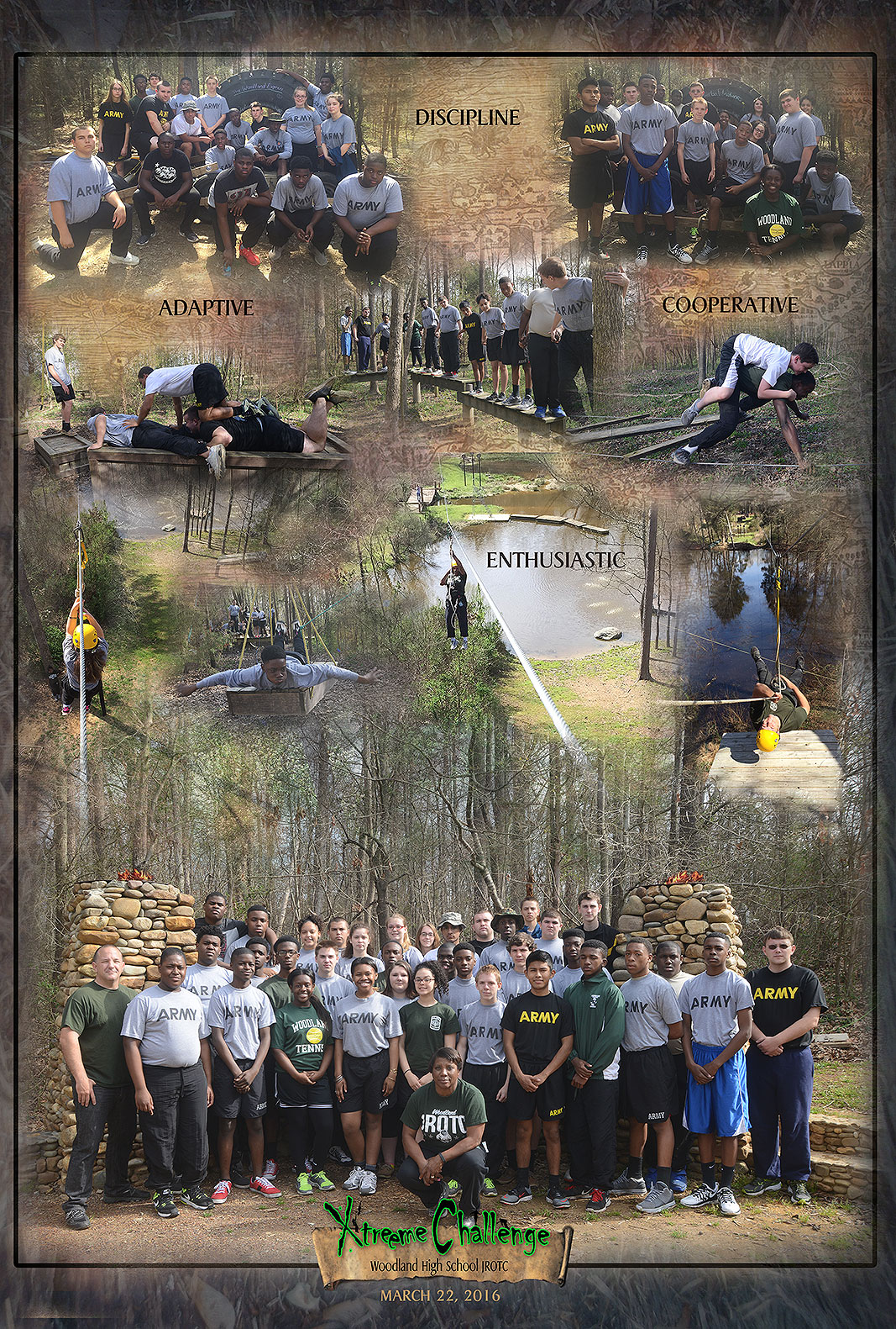 Woodland High School JROTC at Xtreeme Challenge Team Building Center in Monroe NC
